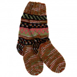 Woollen Fuji Socks - Orange & Khaki