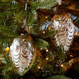 Set Of Two Antique Effect Glass Oval Baubles