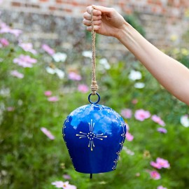 Large Hand Painted Blue Iron Bell