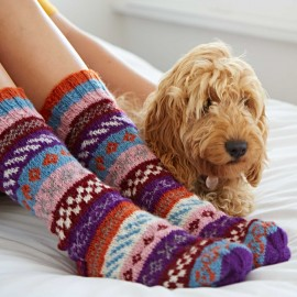 Woollen Fairisle Socks - Orange, Blue and Pink