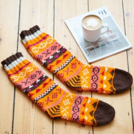 Woollen Fairisle Socks - Orange and Brown