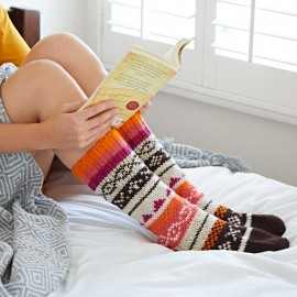 Woollen Fairisle Socks - Natural, Peach and Pink
