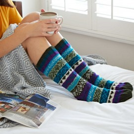 Woollen Fairisle Socks - Green, Blue and Purple