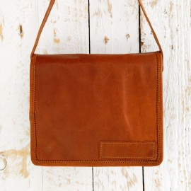 Small Brown Leather Courier Bag - Reworked