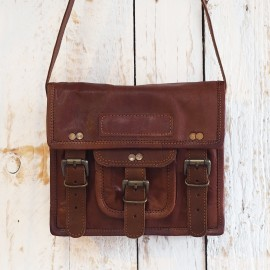 Small Brown Leather Satchel - Reworked