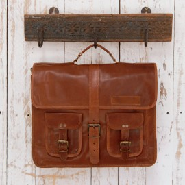 Large Brown Strap Style Leather Satchel Bag - Reworked