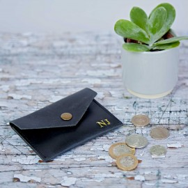 Personalised Black Buffalo Leather Coin Pouch