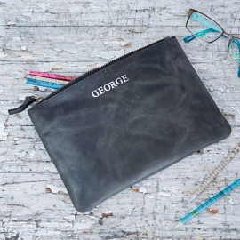 Personalised Black Buffalo Leather Pouch