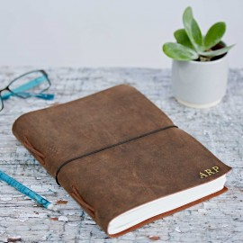 Personalised Large Brown Buffalo Leather Elastic Tie Journal