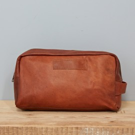 Large Leather Wash Bag - Reworked