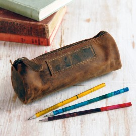 Buffalo Leather Round Pencil Case - Reworked