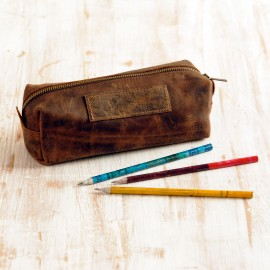 Buffalo Leather Square Pencil Case - Reworked
