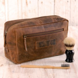 Buffalo Brown Leather Wash Bag - Reworked
