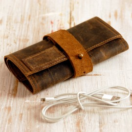 Buffalo Leather Cable Organiser - Reworked