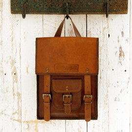 Large Brown Leather Satchel Style Rucksack - Reworked