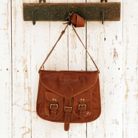 Brown Leather Satchel Style Saddle Bag - Reworked