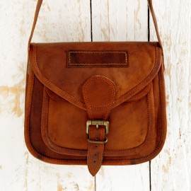 Curved Brown Leather Saddle Bag - Reworked