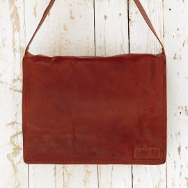 Large Brown Leather Courier Bag - Reworked