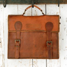 Large Old School Brown Leather Satchel - Reworked