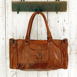 Large or Extra Large Brown Leather Holdall With Zipped Pockets - Reworked