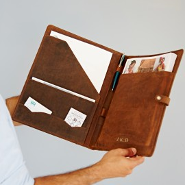 Personalised Buffalo Leather Document Portfolio
