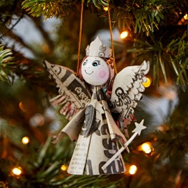 Recycled Newspaper Angel Decoration