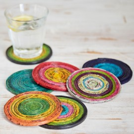 Recycled Newspaper Set of 6 Coasters
