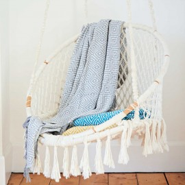 Recycled Cotton Woven Diamond Throw