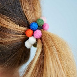 Felt 14 Ball Hair Band / Bobble (x6)