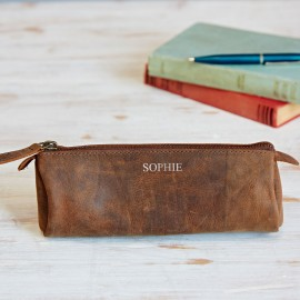 Personalised Buffalo Leather Round Pencil Case