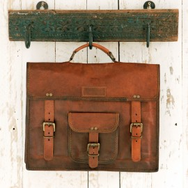 Large Brown Leather Satchel - Reworked