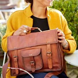 Personalised Large Brown Leather Satchel
