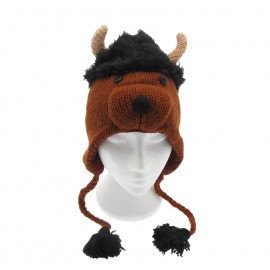 Shaggy Bull Woollen Animal Hat