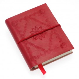 Mini Red Embossed Leather Notebook