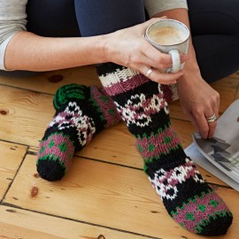 Woollen Makalu Socks - Black, Pink & Green