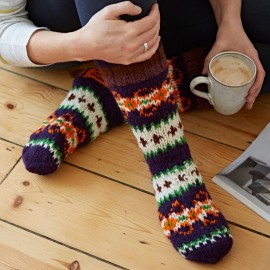 Woollen Makalu Socks - Purple & Orange