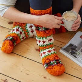 Woollen Makalu Socks - Orange & Red