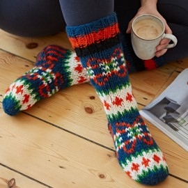 Woollen Makalu Socks - Orange, Navy Blue & Green
