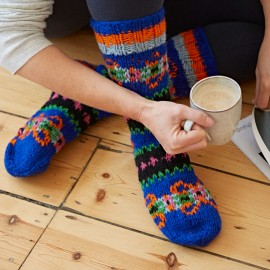 Woollen Makalu Socks - Orange & Teal