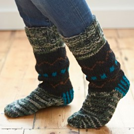 Woollen Fuji Socks - Blue & Black
