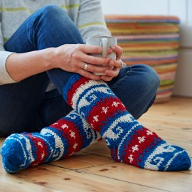 Woollen Annapurna Socks - Red, White & Blue