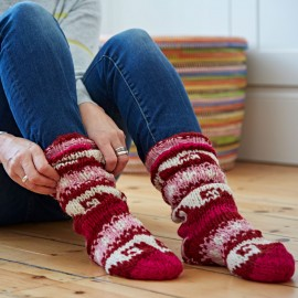 Woollen Annapurna Socks - Red & Pink