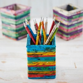 Recycled Newspaper Square Pencil Holder