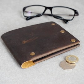 Personalised Handmade Buffalo Leather Studded Wallet
