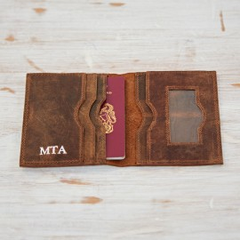 Personalised Buffalo Leather Travel Wallet