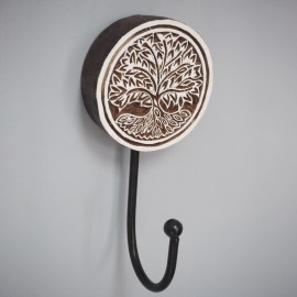 Carved Mango Wood Tree Of Life Wall Hook