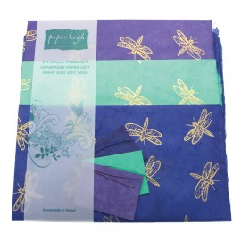 Lokta Paper Dragonfly Gift Wrap with Tags