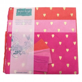 Lokta Paper Heart Gift Wrap with Tags