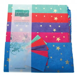 Lokta Paper Star Gift Wrap with Tags