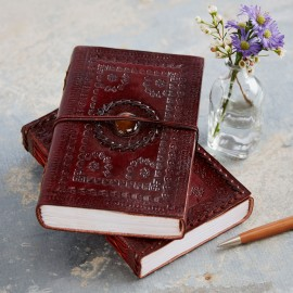 Indra XL Embossed Stone Leather Journal